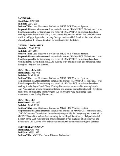 Federal Resume Electronics Technician by George Resume