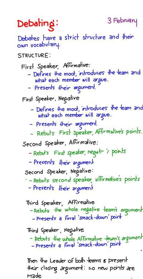 year 9 english debating structure education reading