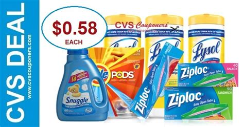 CVS Cash Card Lysol, Ziploc, Snuggle & Tide Deal $0.58