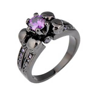 engagement rings with skulls purple amethyst skull jewelry ring anel aneis engagement band black gold filled