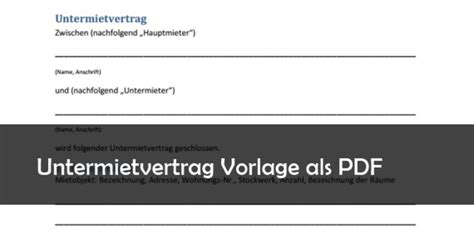untermietvertrag vorlage pdf untermietvertrag muster vorlage pdf