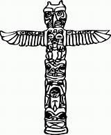 Totem Pole Coloring Clipart Printable Poles Clip Native Vector Indian Cliparts Hawaiian Totems Adults Canada Google Symbols Adult Luau Neo sketch template
