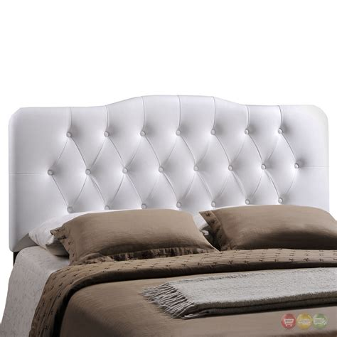 White Leather Tufted Headboard King by Annabel Faux Leather Button Tufted Arched Headboard