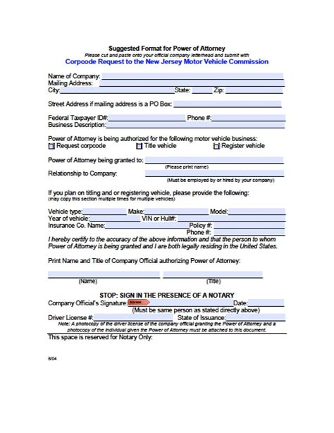 jersey vehicle power  attorney form power