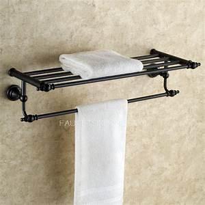 Hanging Black Oil Rubbed Bronze Towel Shelves For Bathroom