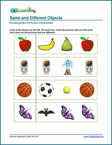 Same Vs Different Objects  Worksheets For Preschool & Kindergarten  K5 Learning