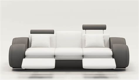 deco in 9 canape design 3 places cuir blanc et gris tetieres relax oslo oscan 3p oslo pu