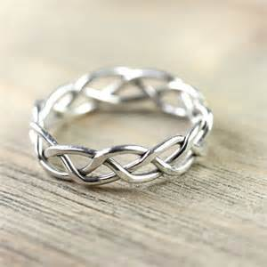 woven wedding bands silver wire ring in celtic braid entwined for eternity for him and celtic braid wire