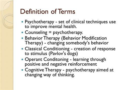 Modification Techniques Definition by Cognitive Behavioral Therapy Ppt