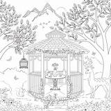 Coloring Gazebo Adult Scrapbook Theme Template Paper Designlooter Customs 63kb 600px sketch template