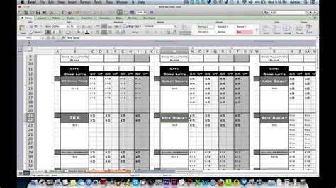 personal training workout log  excel training designs