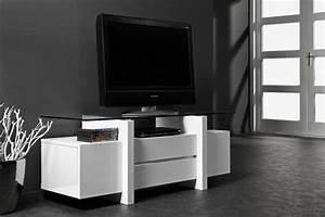 Banc Tv Design : meuble tv design laque banc et verre trempe 10mm 2 tiroirs 2 portes ~ Teatrodelosmanantiales.com Idées de Décoration