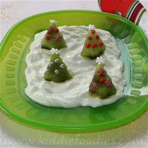 trees dessert made of kiwi and yogurt kiddie