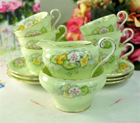 aynsley green floral small vintage china tea set