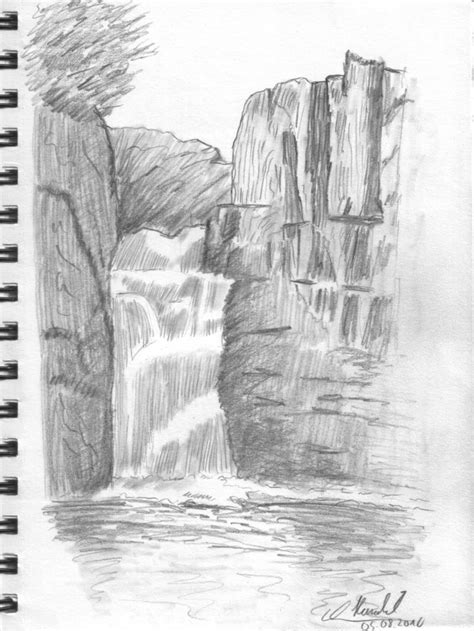 Drawing Lesson Waterfall Haraldelsen