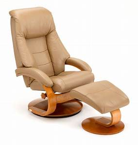 Euro Recliner And Ottoman In Sand LeatherModel 58