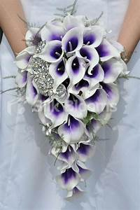 Vibrant Bridal Bouquet with Purple Centred White Picasso ...