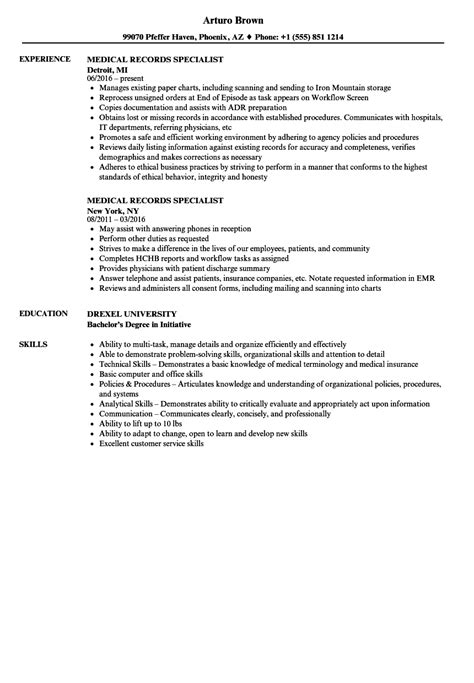 Records Description Resume by Records Description For Resume 9 Business