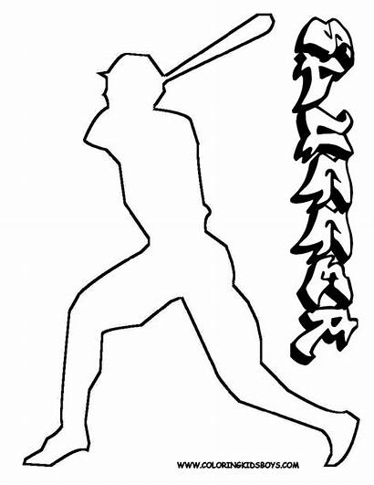 Baseball Coloring Pages Batter Player Pitcher Boys