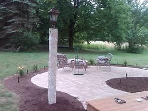 Granite, Light, Post, With, Patio