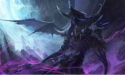 Demon Wings Horns Fantasy Moon Background