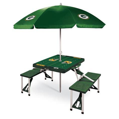folding picnic table with umbrella picnic time nfl folding picnic table with umbrella