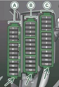 Audi A4  2011 - 2012  - Fuse Box Diagram