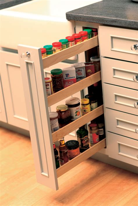 Diy Pull Out Spice Rack by Pull Out Kitchen Storage Cabinets Dura Supreme Cabinetry