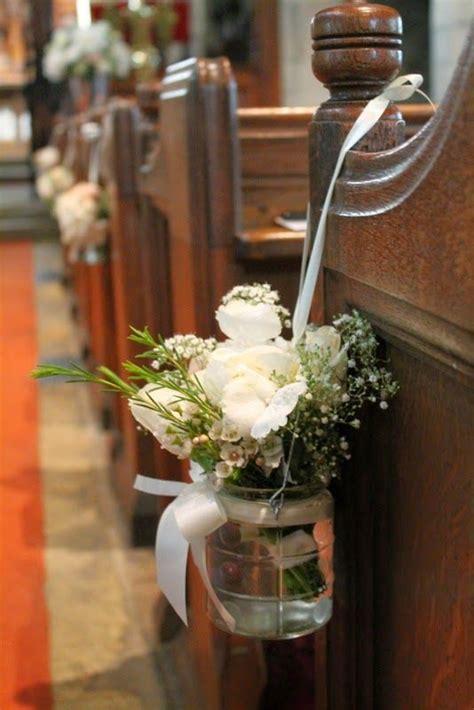 jam jar style pew  posies  peonies roses hydrangeas