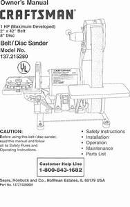Craftsman 137215280 User Manual 2 X 42 Belt  Disc Sander