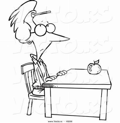 Coloring Teacher Desk Cartoon Sitting Forehead Dart