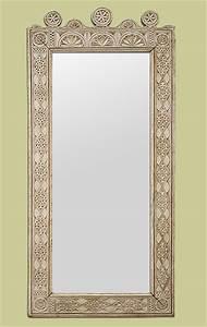 Grand Miroir Style Oriental En Bois Sculpt Patin Gris Beige