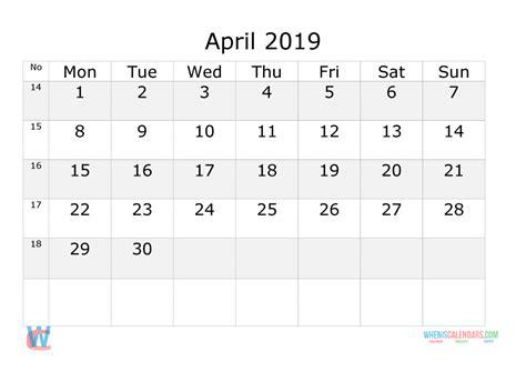 april  calendar  week numbers printable start