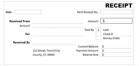 cash receipt template   word excel documents