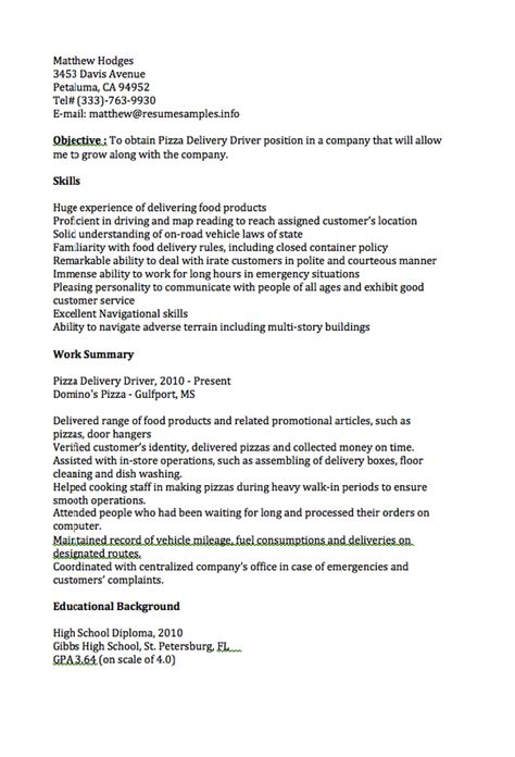 Pizza Driver Resume by Pizza Delivery Driver Resume Sle Resumes Design