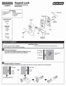 Schlage Fe595 Installation User Manual
