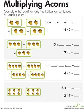 multiplication add multiply acorns math