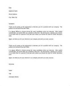 rejection letter resume on file sle rejection letter 8 exles in word pdf