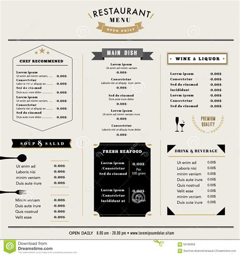cuisine style bistro restaurant menu design template layout with icons and