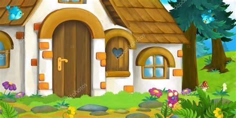 Fondo de dibujos animados de una antigua casa en el bosque ...