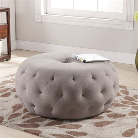Best Deals On Ottomans by Baxton Studio Glazebrook Beige Linen Modern Tufted Ottoman
