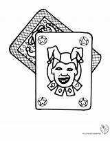 Jolly Joker Coloring Pages Poker Playing Card Colorare Immagini Printable Template Adult sketch template