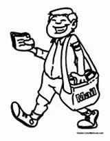 Postal Worker Coloring Mailman Pages Colormegood sketch template