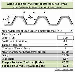 Acme Lead Screw Torque Calculator Unified Ansi B1 5 1988