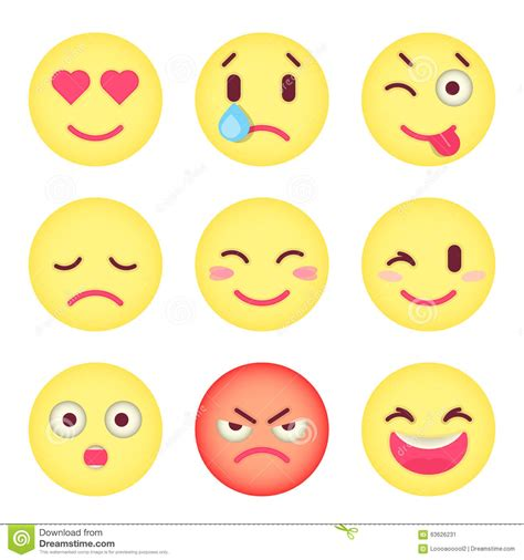 set  flat emoticons set  emoji isolated vector stock
