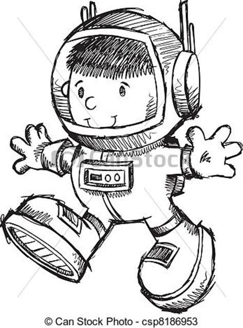astronaut boy sketch doodle vector art illustration