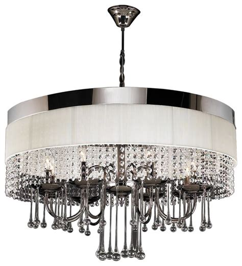 White Modern Chandelier by Elisa Modern Black Chrome White Linen Chandelier