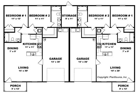 bedroom duplex plan garage  unit