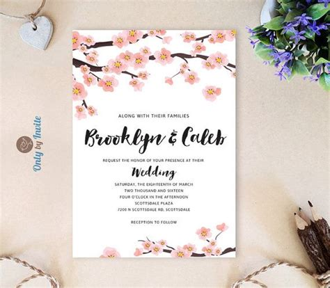 PRINTED Cherry blossom wedding Invitation and RSVP