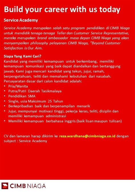 Telp / sms / wa : Loker Tasikmalaya Bank CIMB Niaga ~ Lowongan Kerja Indonesia